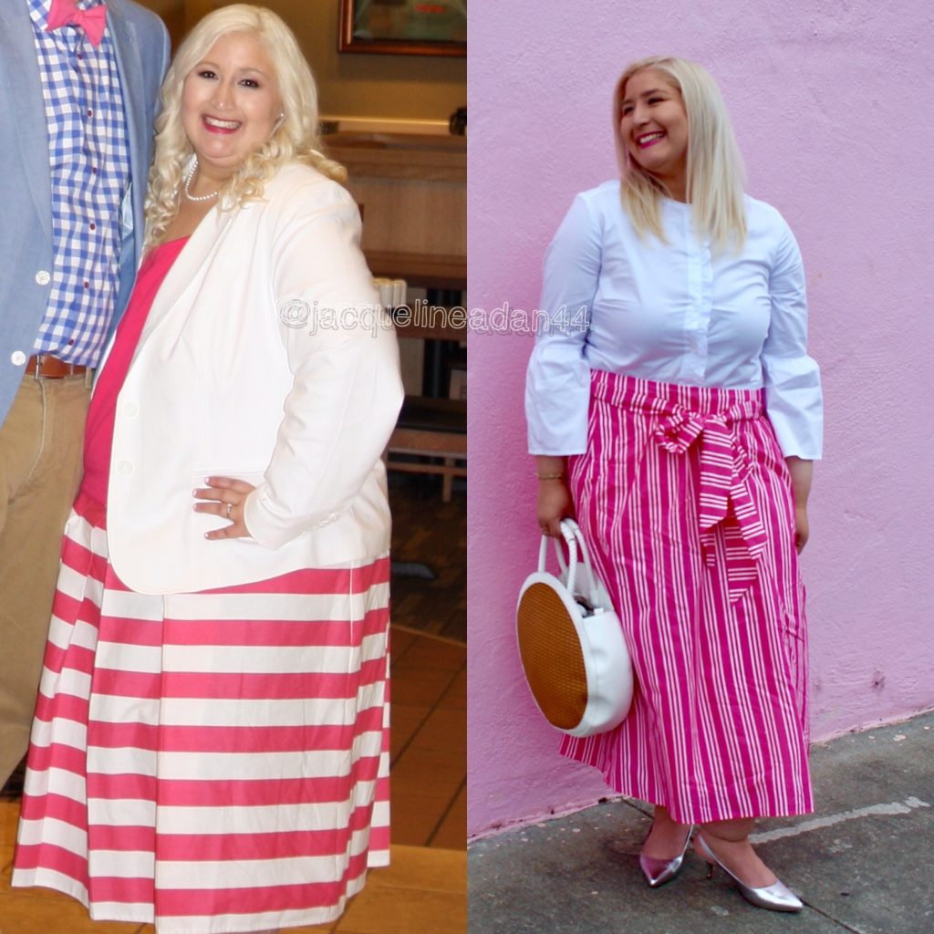 Celebrating Small Goals and Achievements is Important; Pink and White Striped Skirt Flash Back To Our Engagement Party