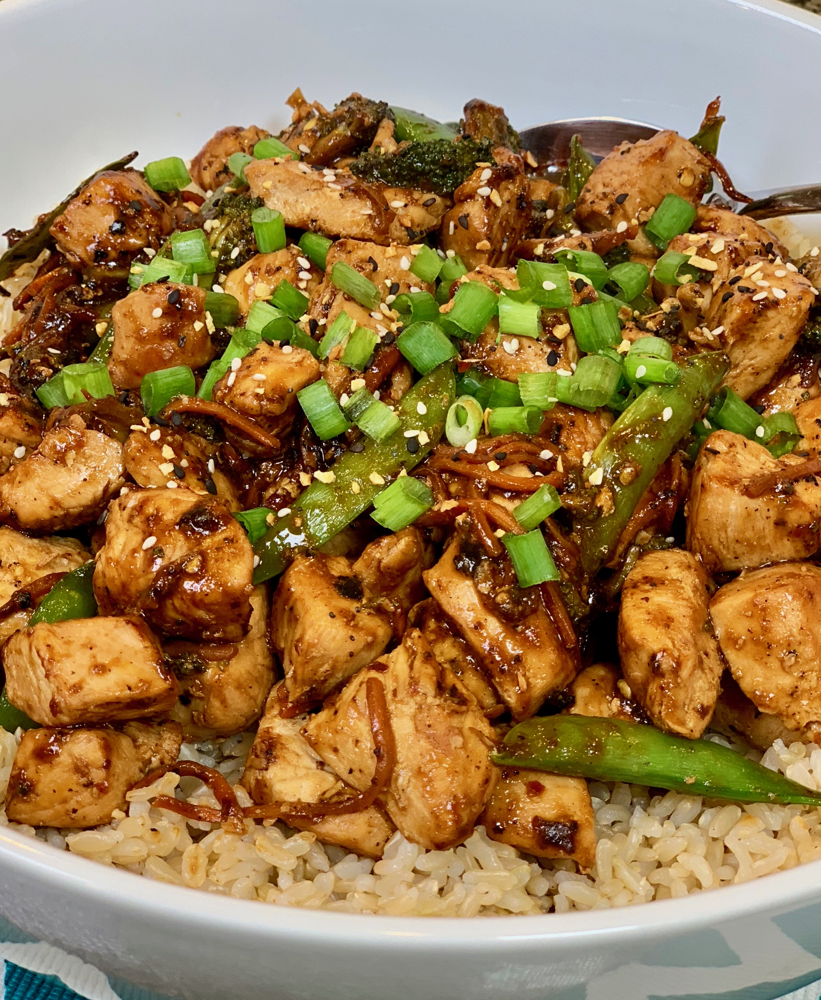 General Tso's Chicken and Vegetables with Brown Rice
