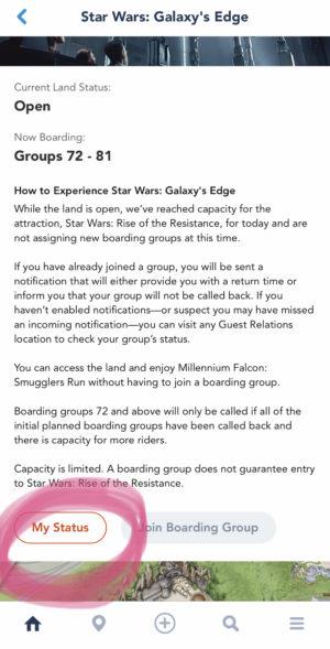 Disneyland App Screen Shot For Rise of Resistance Boarding Pass Process