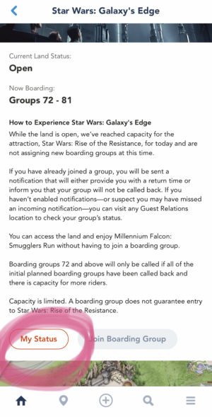 Disneyland App Screen Shot For Rise of Resistance Boarding Pass Process