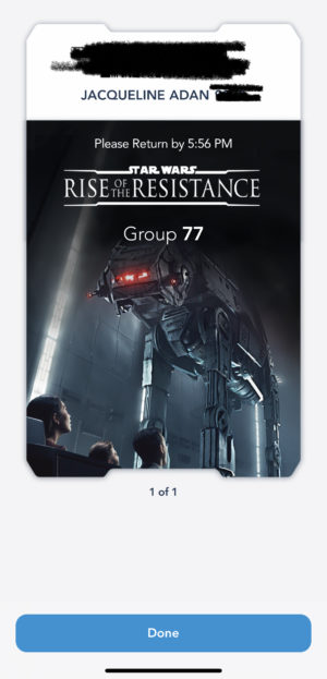 Disneyland App Screen Shot For Rise of Resistance Boarding Group