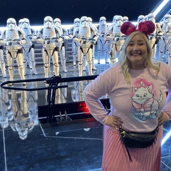 Jacqueline with Storm Troopers in Rise of the Resistance In Diseneyland