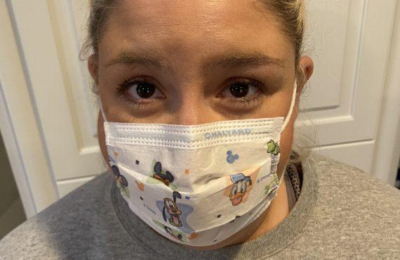 Jacqueline wearing a mask