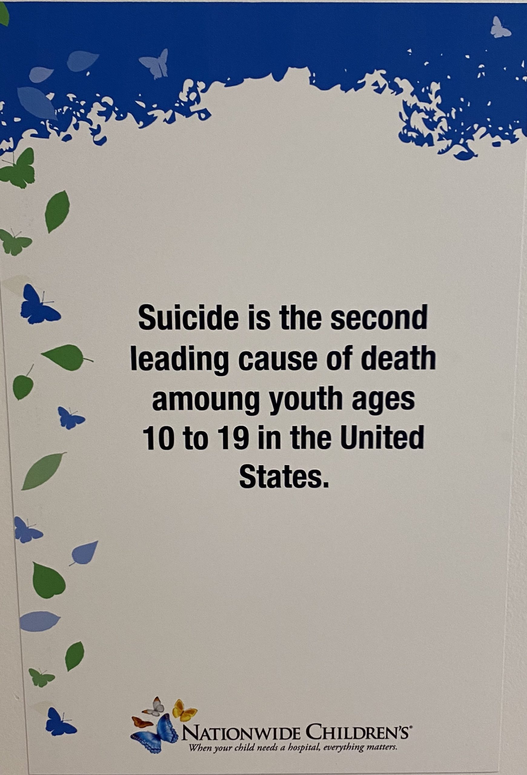 Suicide is the second leading cause of death among youth ages 10 to 19 in the United States