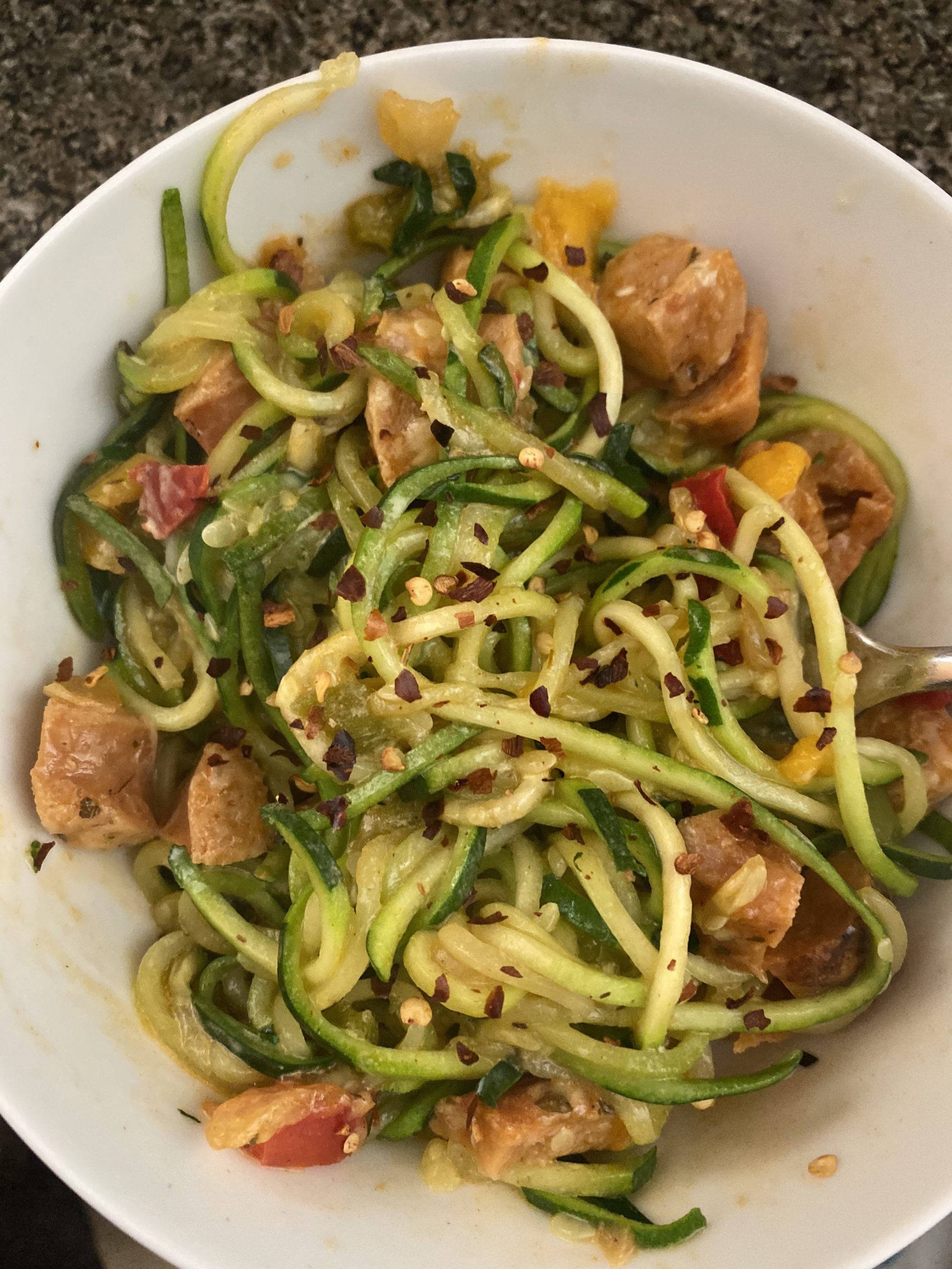 Zucchini Noodles and Chicken Sausage