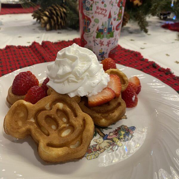 Strawberry Mickey Waffles at Home